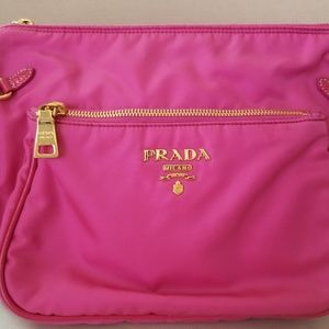 Prada pink nylon with patent leather strap